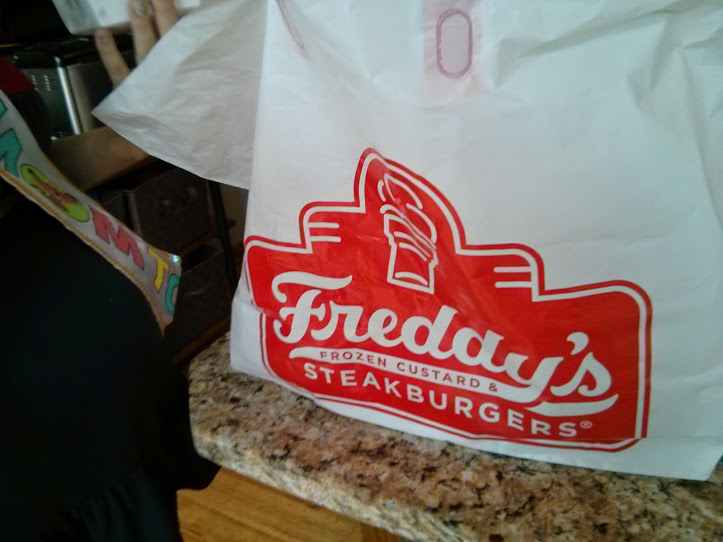 Up next was a big and awesome surprise - my uncle Mike showed up with Freddy's burgers and fries, as a tribute to my major pregnancy cravings! THANK GOODNESS for cheeseburgers, am I right?