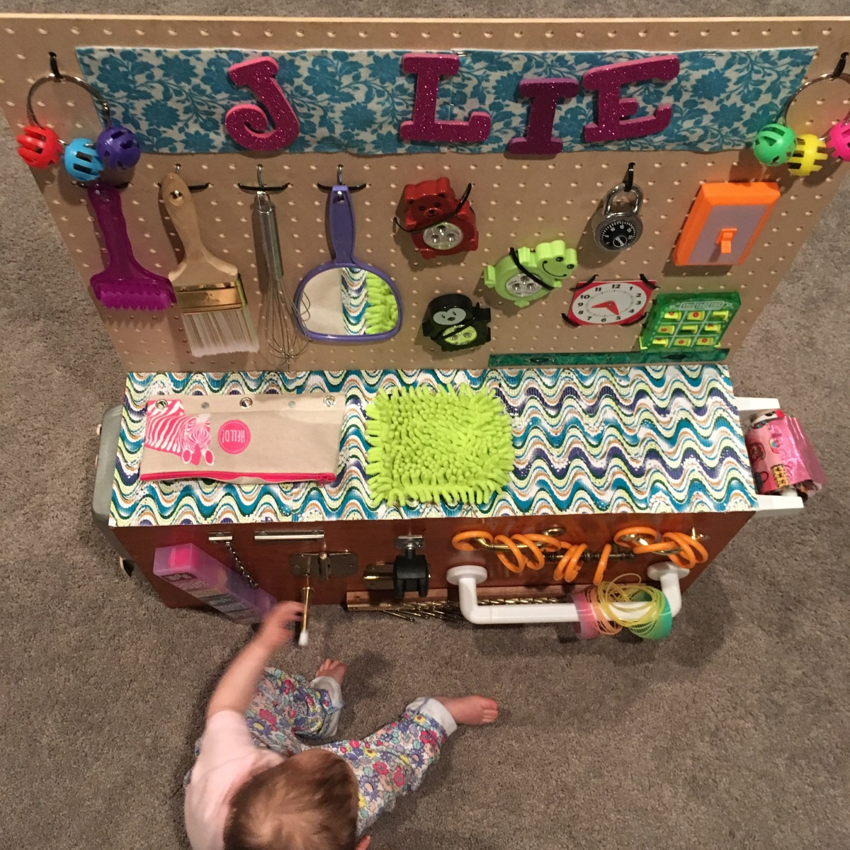 """Jolie's """"Busy Bench"""" (our version of the BusyBoard!)"""